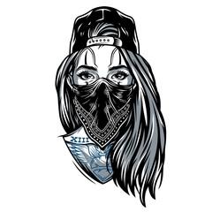 Vintage gangster girl in baseball cap
