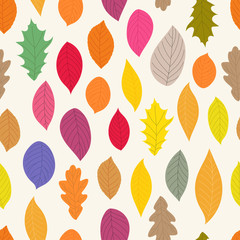 Autumn colorful leaves seamless pattern