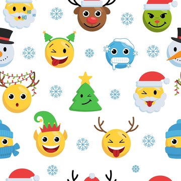 Christmas faces with different emotions endless texture vector illustration. Seamless pattern with smiling surprised freeze deer, santa claus, xmas tree, snowman characters with snowflakes flat style