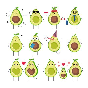 Funny avocado characters with different emotions set vector illustration. Cute fruits heroes having fun, doing sport, sleeping, falling in love and starting family with children. Isolated on white