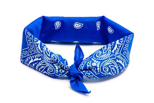 Blue bandana isolated on white background