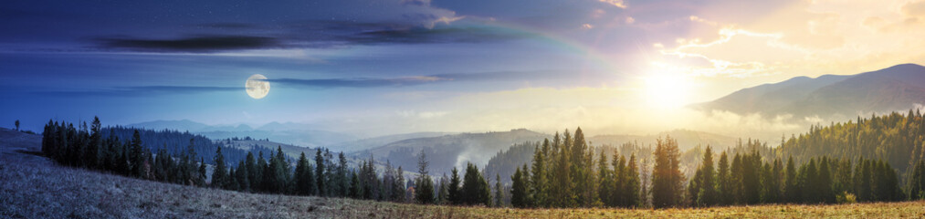 day and night time change in mountains with forest on meadow. beautiful autumn weather. clouds and fog rising above the hills with row of spruce trees with sun and moon on the sky