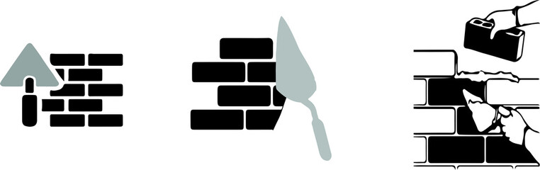 brick wall icon on color background