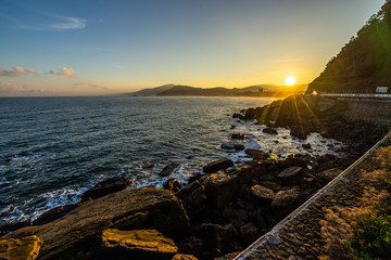Beautiful landscape at sunrise of Spanish Atlantic coast in Basque Country near the town of Getaria