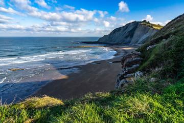 Scenic landscape of Itzurun beach in Zumaia, Basque Country, Spain