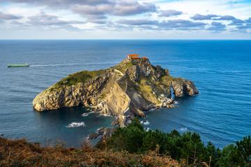 Aerial view of San Juan de Gaztelugatxe islet surrounded by Atlantic Ocean, Bermeo, Basque Country, Spain