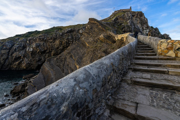 Stone stairway to San Juan de Gaztelugatxe, a famous location for television series, Bermeo, Basque Country, Spain