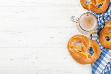 Oktoberfest backdrop. Pretzels and beer mug