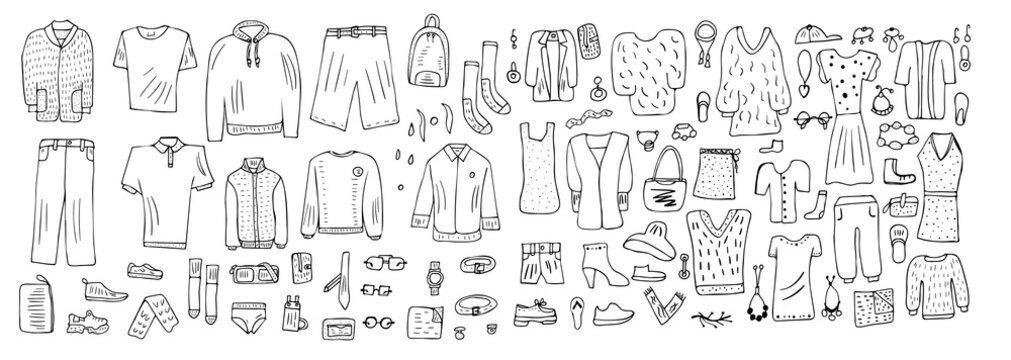 Set of clothes in doodle style. Vector illustration.
