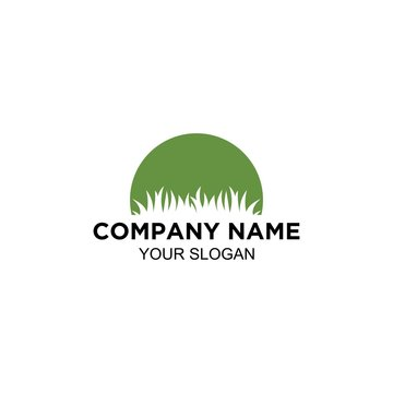 lawn care service logo design vector