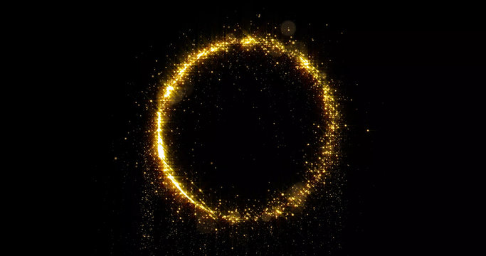 Golden glitter circle, sparkling light shine and particles bokeh glow. Gold glittering ring, magic shimmer bright light