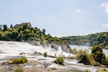 Rheinfall, Rhein, Wasserfall, Rheinfallbecken, Felsen, Schloss, Fluss, Rheinfallfelsen, Neuhausen, Schaffhausen, Sommer, Schweiz