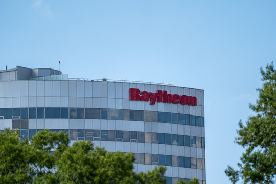 Arlington, Virginia - August 8, 2019: Raytheon Company is a major U.S. defense contractor, that manufactures weapons and military and commercial electronics