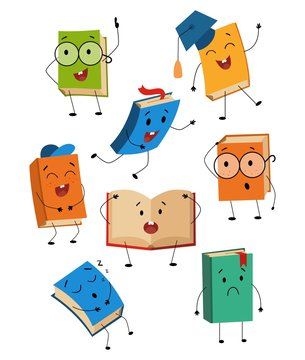 Cartoon cute book characters with different emotions set vector illustration. Collection consists of smiling, sad, funny, sleeping textbooks faces flat style design for school, education concept