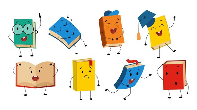 Funny books characters collection with different facial expression vector illustration. Set of cute humanized textbooks emoji representing various types of literature, kids and schoolastic