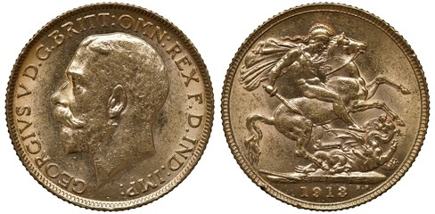 Great Britain British golden coin 1 one sovereign 1913, head of King George V left, St George on horse killing dragon, date below,