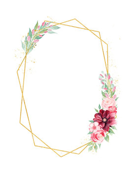 Floral branch watercolor hand drawn raster frame template