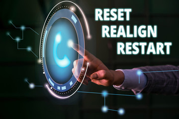 Handwriting text Reset Realign Restart. Conceptual photo Life audit will help you put things in perspectives Lady presenting hand blue glow futuristic modern technology tech look contact