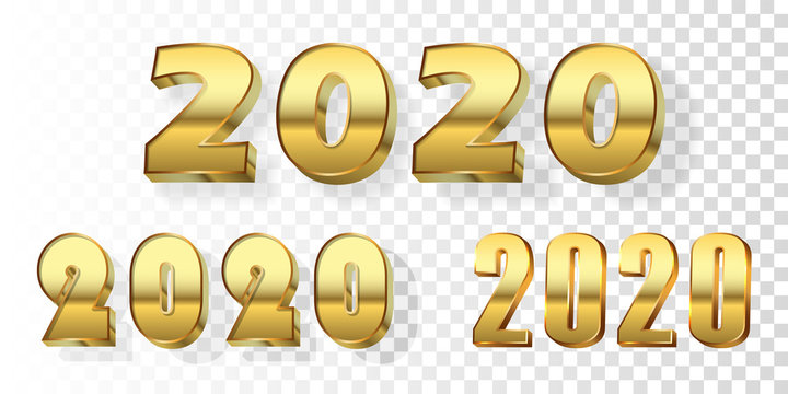 Happy New Year number set. Gold 3D number 2020 isolated white transparent background. Bright golden design greeting card, Christmas banner holiday celebration, decoration calendar. Vector illustration