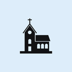 church building flat icon. Elements of buildings illustration icons. Signs, symbols can be used for web, logo, mobile app, UI, UX on sky background
