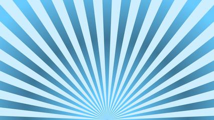 Sun rays background. Blue radiate sun beam, burst effect. Sunbeam light flash boom. Template poster sale. Sunlight star, sunrise glow burst. Solar radiance glare, retro design. Vector illustration Wall mural