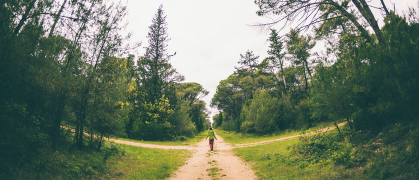 A woman stands at the crossroads of two forest roads.