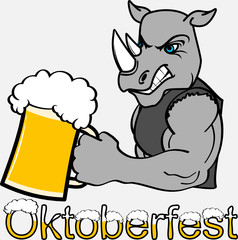 oktoberfest strong rhino cartoon