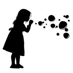 Obraz Silhouette of a girl blowing soap bubbles. Vector illustration - fototapety do salonu