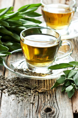 Infusion made from sage leaves. Medicinal herb Salvia officinalis