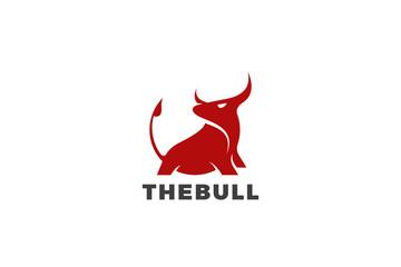 Bull Taurus Bison Buffalo Logo design vector template. Beef Meat Steak House Restaurant Logotype concept icon.
