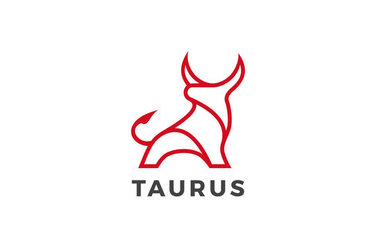 Bull Taurus Bison Buffalo Logo design vector template Linear style. Beef Meat Steak House Restaurant Logotype concept icon.