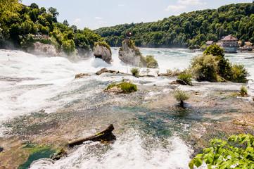 Rheinfall, Rhein, Wasserfall, Rheinfallbecken, Felsen, Fluss, Rheinfallfelsen, Neuhausen, Schaffhausen, Sommer, Schweiz