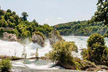 Rheinfall, Rhein, Wasserfall, Schaffhausen, Rheinfallbecken, Felsen, Fluss, Rheinfallfelsen, Neuhausen, Sommer, Schweiz