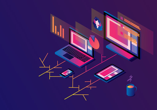 Cross-platform isometric web content. Devices - smartphone, tablet, laptop and desktop computer with open web pages in a browser. Girl operator and data on the screens. Multi-platform content