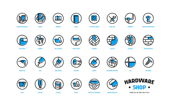Hardware shop and building icons set