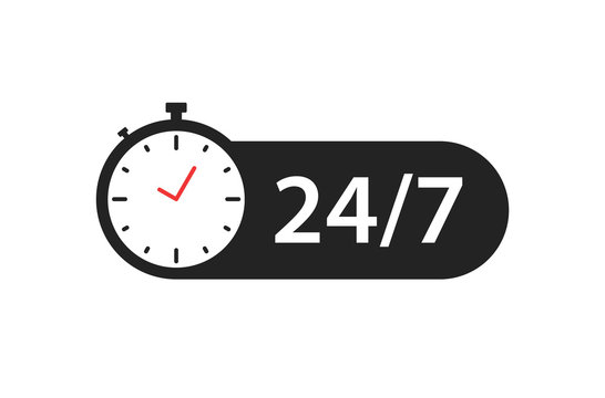 24 7 icon. Open round the clock. Vector illustration.
