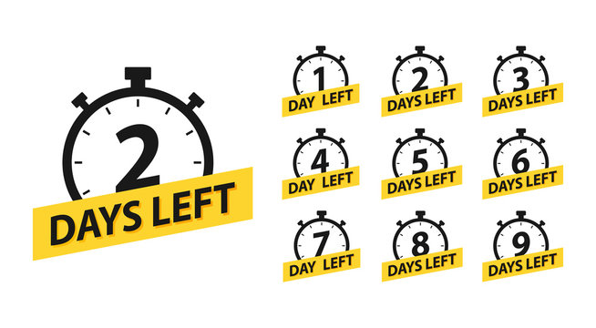 Number 1, 2, 3, 4, 5, 6, 7, 8, 9, 10, of days left to go. Promotional banners. Collection badges sale, landing page, banner.