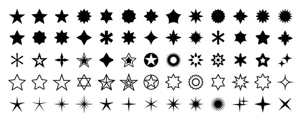 Stars set of 65 black icons. Rating Star icon. Star vector collection. Modern simple stars. Vector illustration. Fotomurales