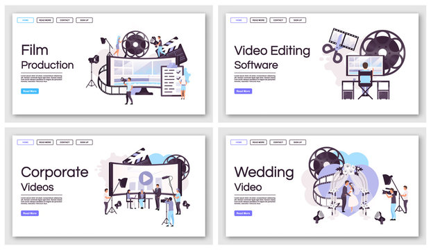 Film and video production landing page vector templates set. Event shooting website interface idea with flat illustrations. Filmmaking, videography homepage layout. Web banner, webpage cartoon concept