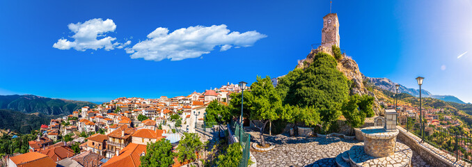 Scenic view of Arachova Village. Arachova is famous for its panoramic view, uphill small houses and the cobbled streets show a picturesque architecture at Parnassos Mountain,  Greece. Wall mural