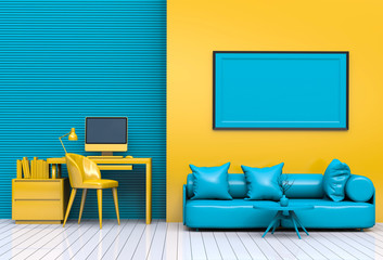 3D render interior living room workspace with desktop computer and mockup blank poster