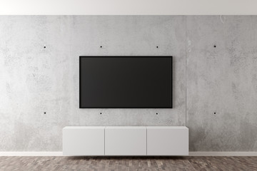 Flat smart tv panel on concrete wall with white sideboard and brown wooden floor - entertainment, media or home television set mock up template with copy space - 3D illustration