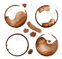Collection of round coffee mug traces, liquid drops, blobs and drips. Hand painted watercolour graphic illustration, isolated clip art elements for creative design, decor, banner, sign, print, poster.