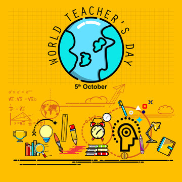 world teacher's day, poster and banner