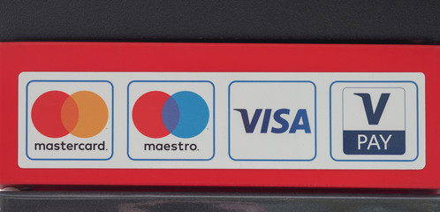 KOeLN - AUG 2019: Mastercard, Maestro, Visa and V-Pay signs