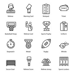 Sports Equipment Line Icons Pack