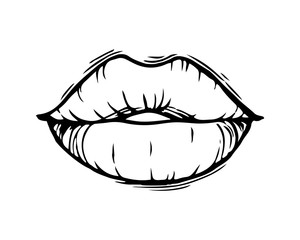 Hand drawn female lips isolated on white background.
