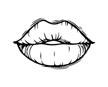 Hand drawn female lips isolated on white background.