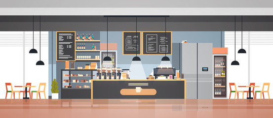 In de dag Restaurant modern cafe interior empty no people restaurant cafeteria design flat horizontal