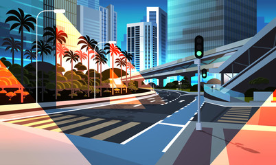 highway road night city street with modern skyscrapers bridge subway railroad urban cityscape background flat horizontal Fotomurales